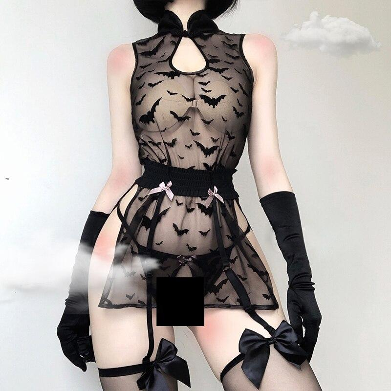 'Creature of the Night' Transparent black bat lingerie