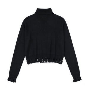 'Abyss' Black zip torn turtleneck sweater