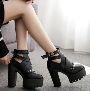 'Mortuary' Platform chain cut out ankles boots