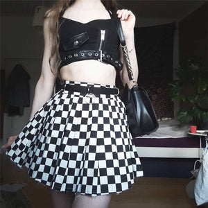 'Mesmerised' Red and Black Plaid crop top