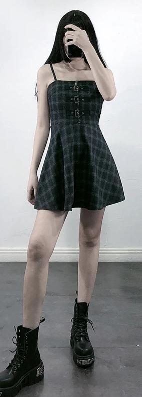 'Gemini' Grey check / plaid mini dress with buckles