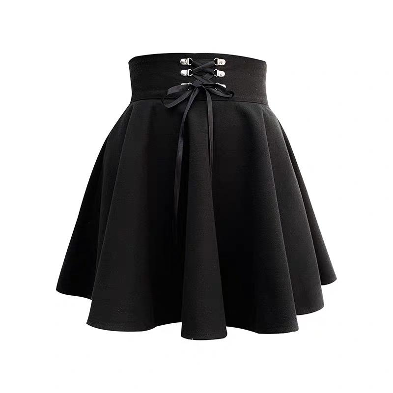 'Toil and Trouble' Black lace up skirt