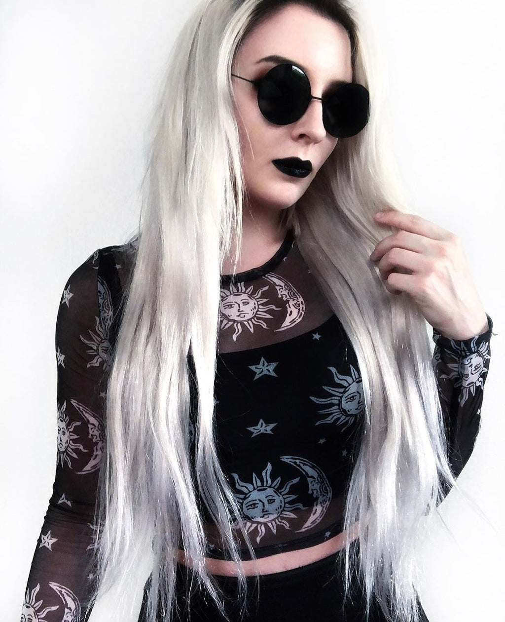 'Twilight' moon and sun mesh top