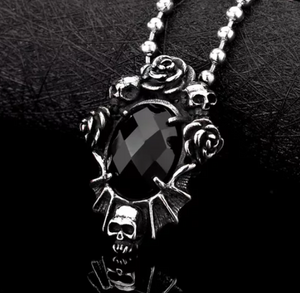 'Black Dahlia' Skull Rose Necklace