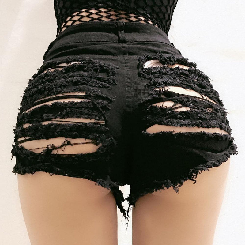 'Gridlock'' High Waist Ripped Shorts