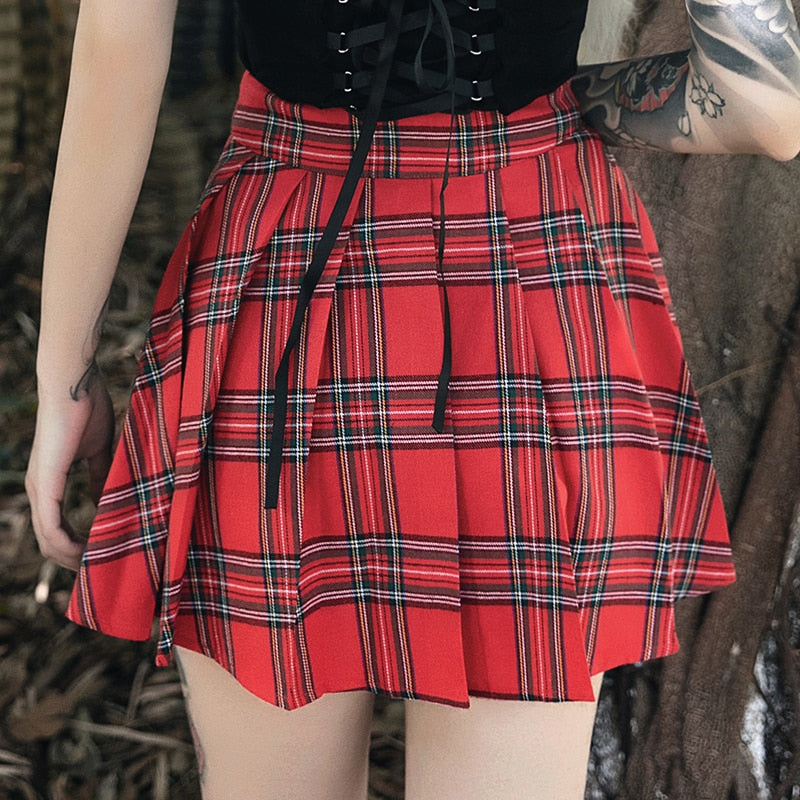 'Fire Within' Red plaid cut out safety pin skirt
