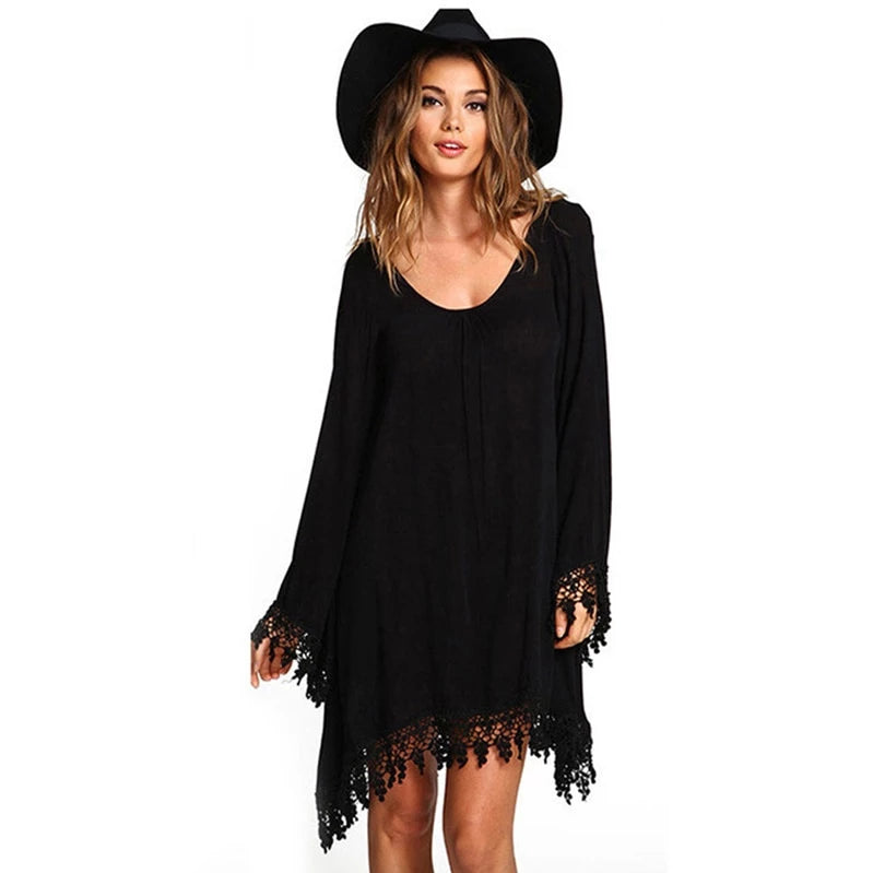 'Darkest Night' Black witchy tassel shawl dress. S-5XL