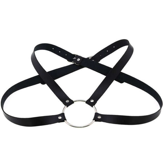 'Freak' Black O ring faux leather harness