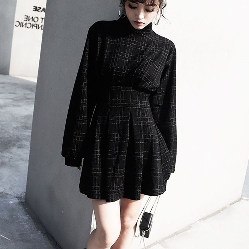 'Reap your Sorrow' Black and grey plaid long puff sleeved dress