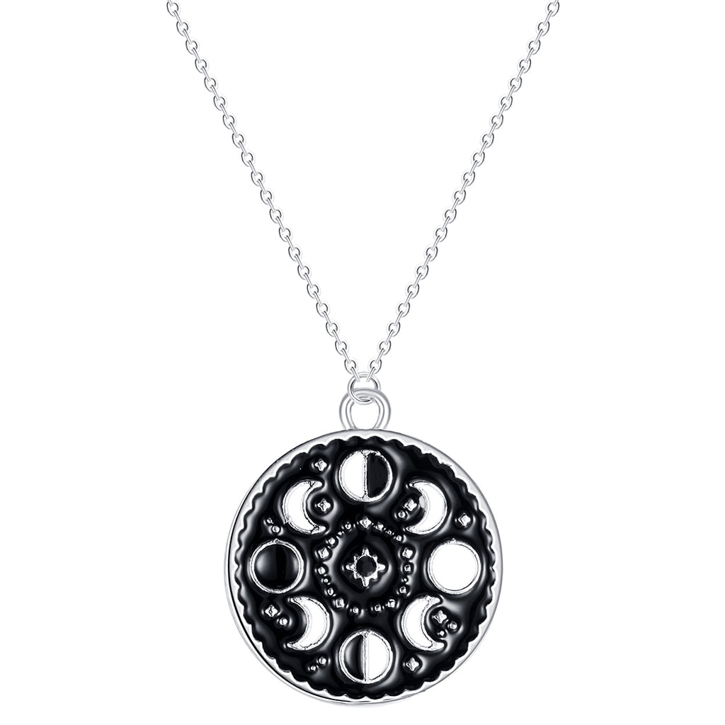 Moon phases round silver plated necklace