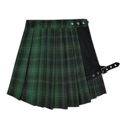 'Darkness of the Forest' Green plaid skirt and shorts