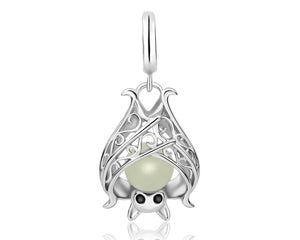 'Wrapped Up' Silver bat glow in the dark charm for bracelets and necklaces (CHARM ONLY)