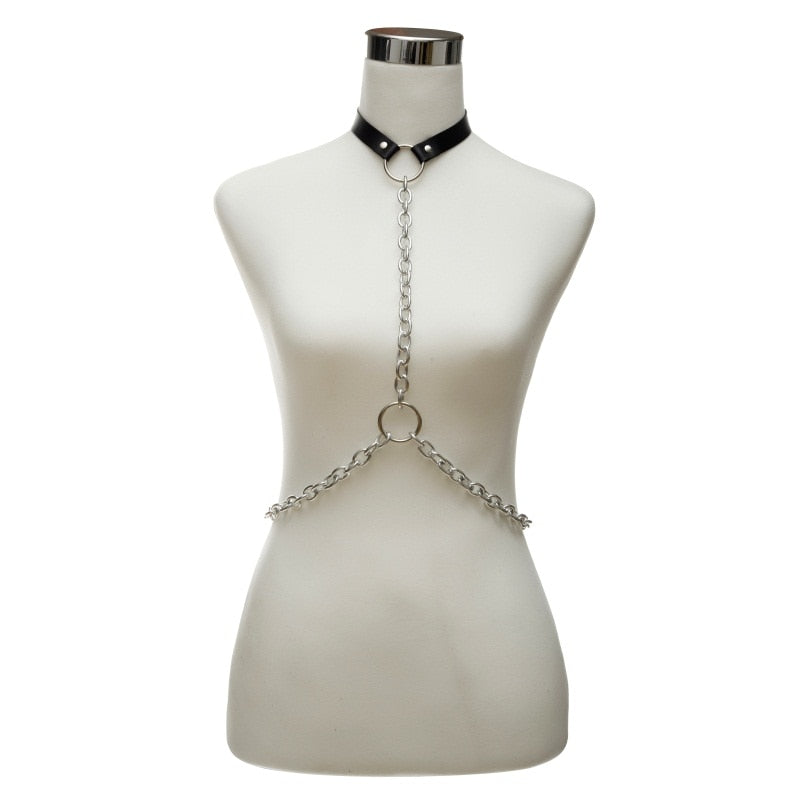 Chain and faux leather body harness body chain