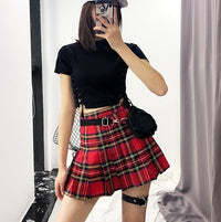 'Vermilion' red plaid skirt