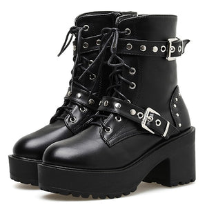 'Night Fall' Black lace up stud buckle boots