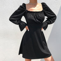 'Back for More' Black long sleeved dress with white lace