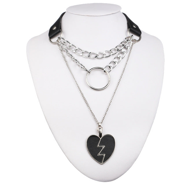 'Broken Hearts'  Black faux leather padlock chain choker