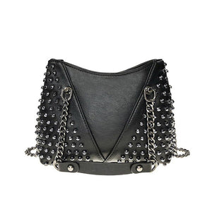 Small black stud bag. Faux leather