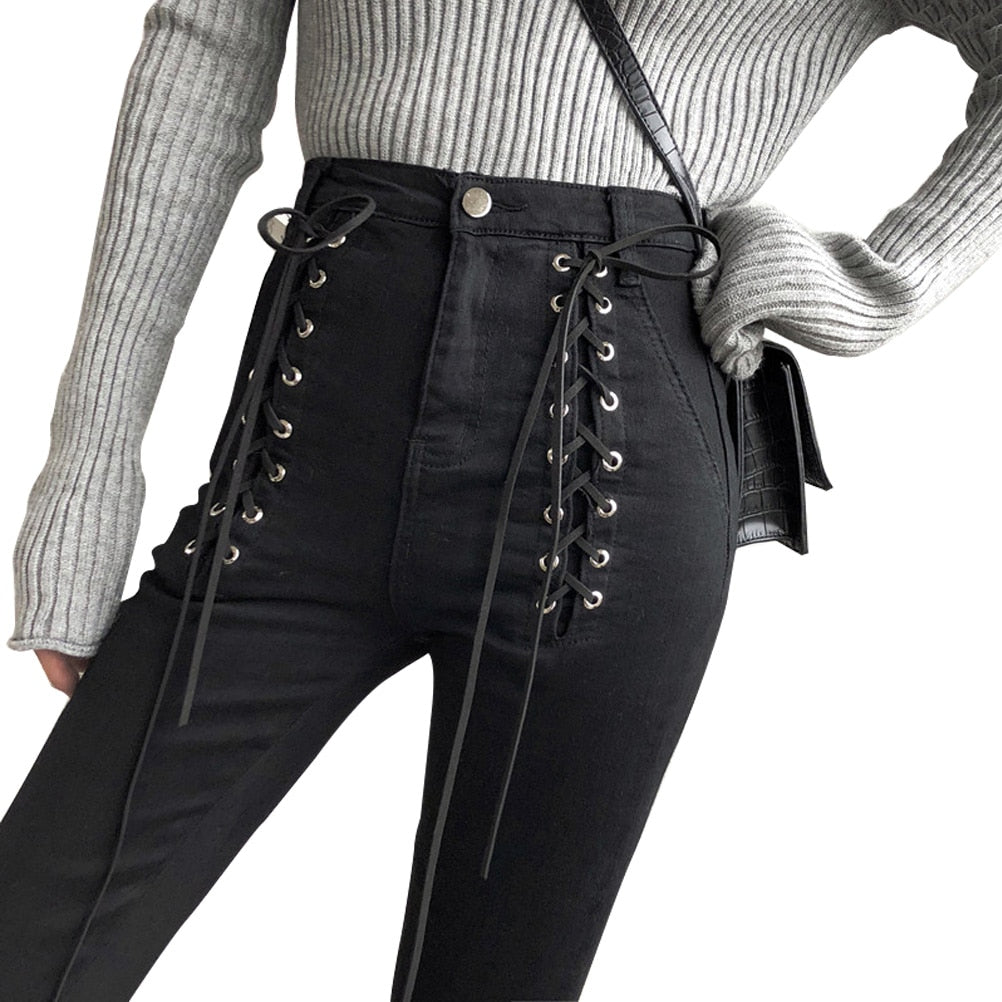 'Draco' Lace Up Zip Ankle Pants