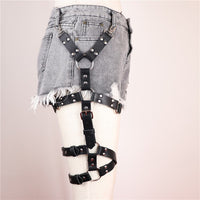 'Darkness Entwined' Black faux leather leg harness
