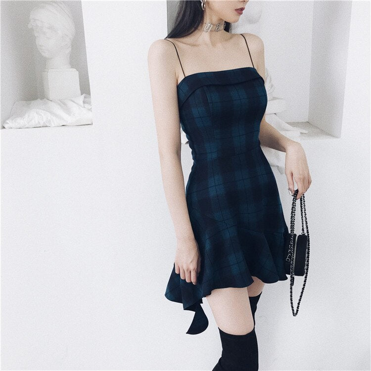 'The Blues' Blue plaid dress