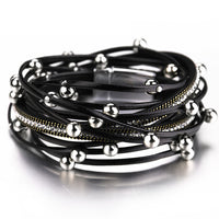'Ashes to Ashes' silver / black bead rope festival bracelet