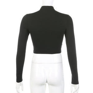 'Elegant' Long Sleeve Crop Top
