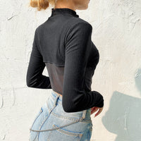 'Boom' Ribbed Long Sleeved Mesh Top