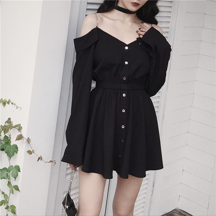 'Entity' Black chain shoulder shirt dress
