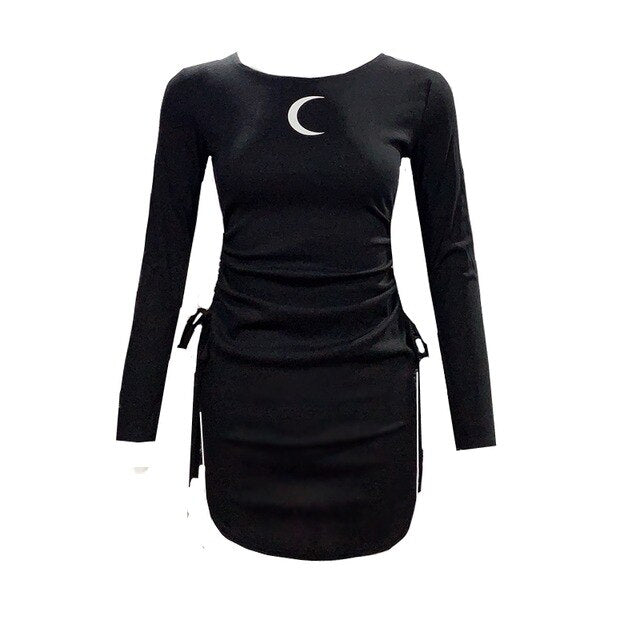 'Fantasia' Black Moon Slim Dress