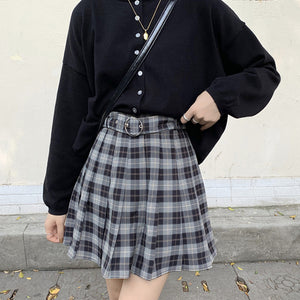 'Storm' Black and grey plaid skirt