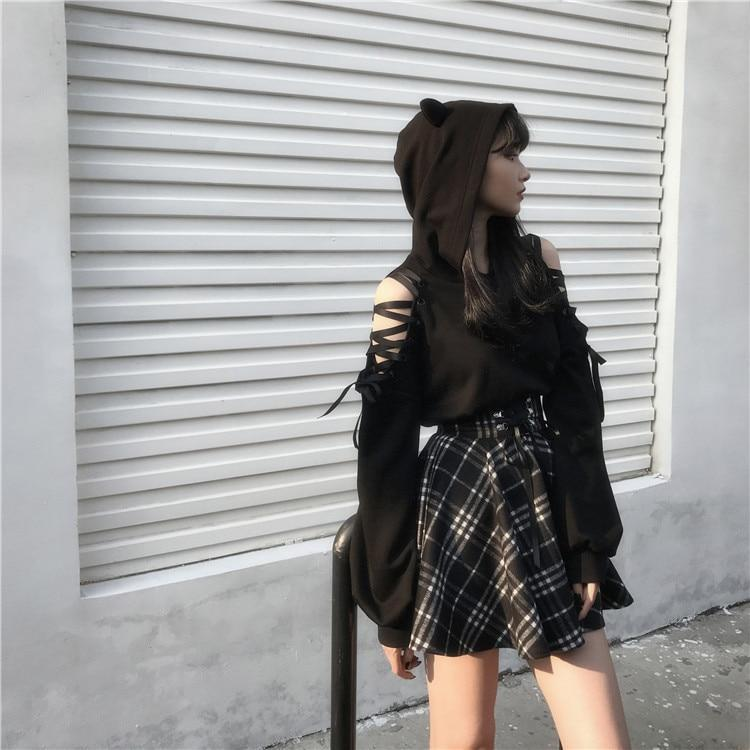 'Army Of Darkness' Black and White Plaid Skirt