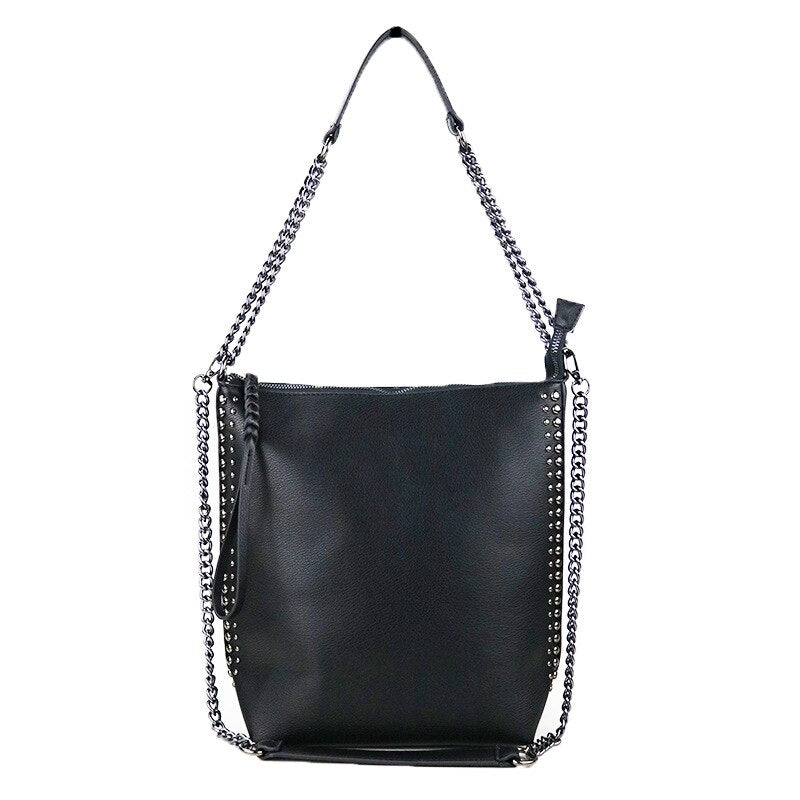 'Shudder' Black stud shoulder hand bag
