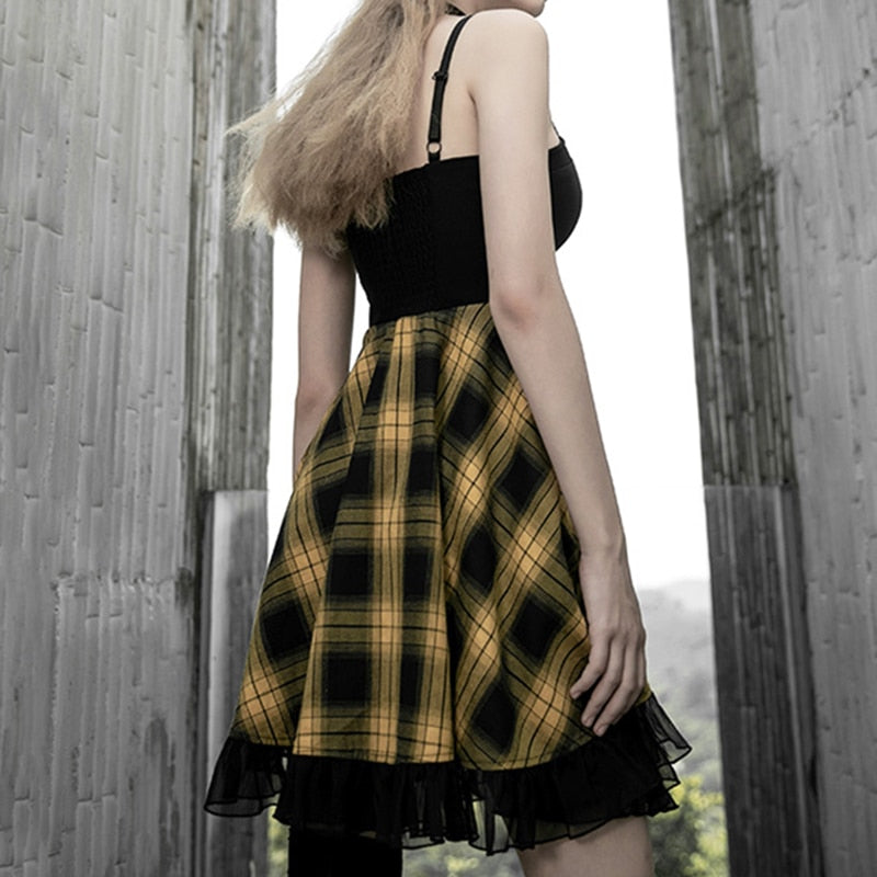 'Terrorize' Plaid dress. Red or Yellow