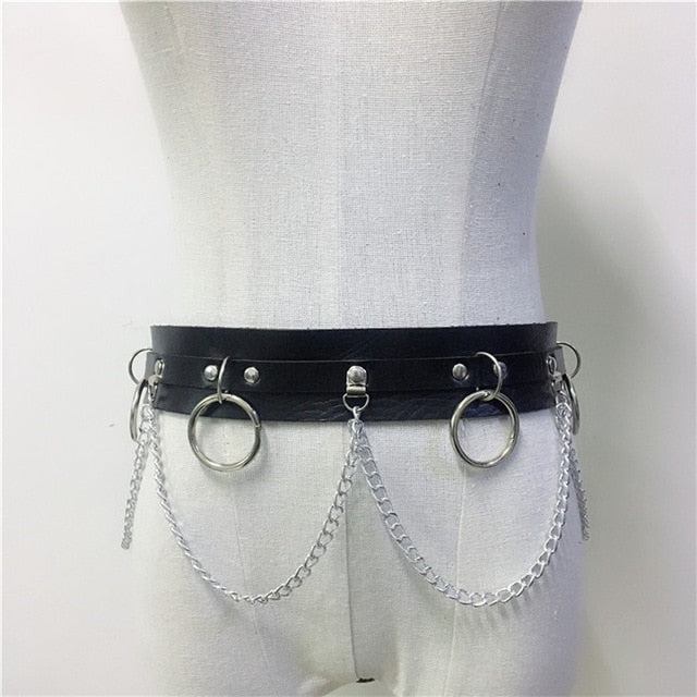 'Envy' Faux leather star harness and O ring belt. 2 Piece set