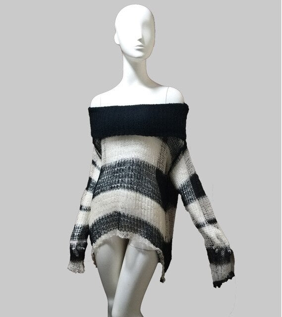 'Falter' black and white open knit sweater