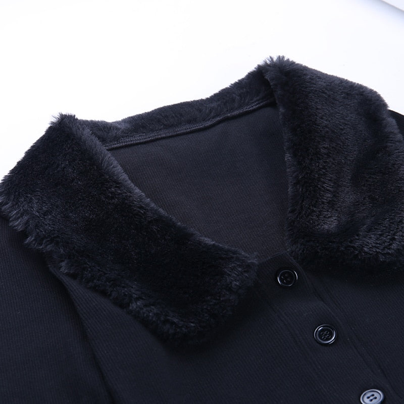 'Midnight' Black faux fur cardigan sweater