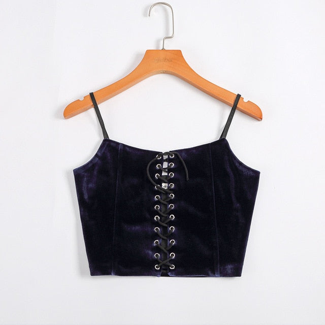 'Whispers' Velour lace up Crop top (Black, Brown, Red or Blue)