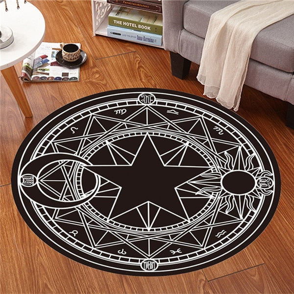 'Element' Black and white sun, moon and star round rug