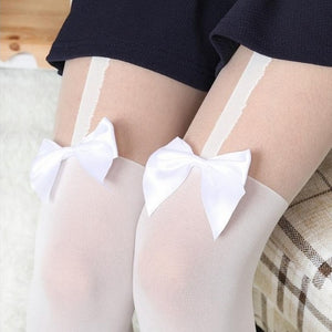 Black or white bow mock suspender tights