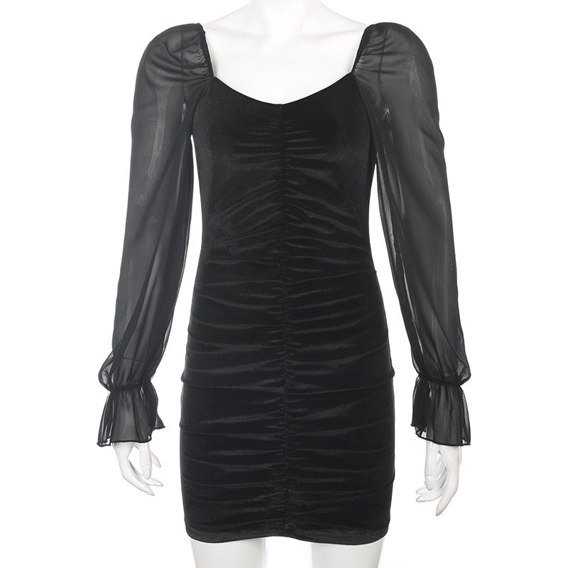 'Serpent' velour dress with mesh sleeves