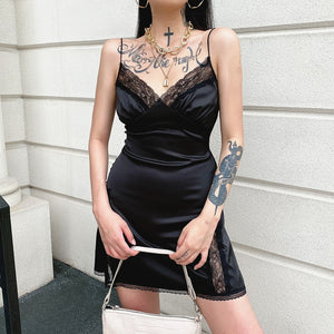 'Dressed to Kill' Black satin sexy lace strap dress