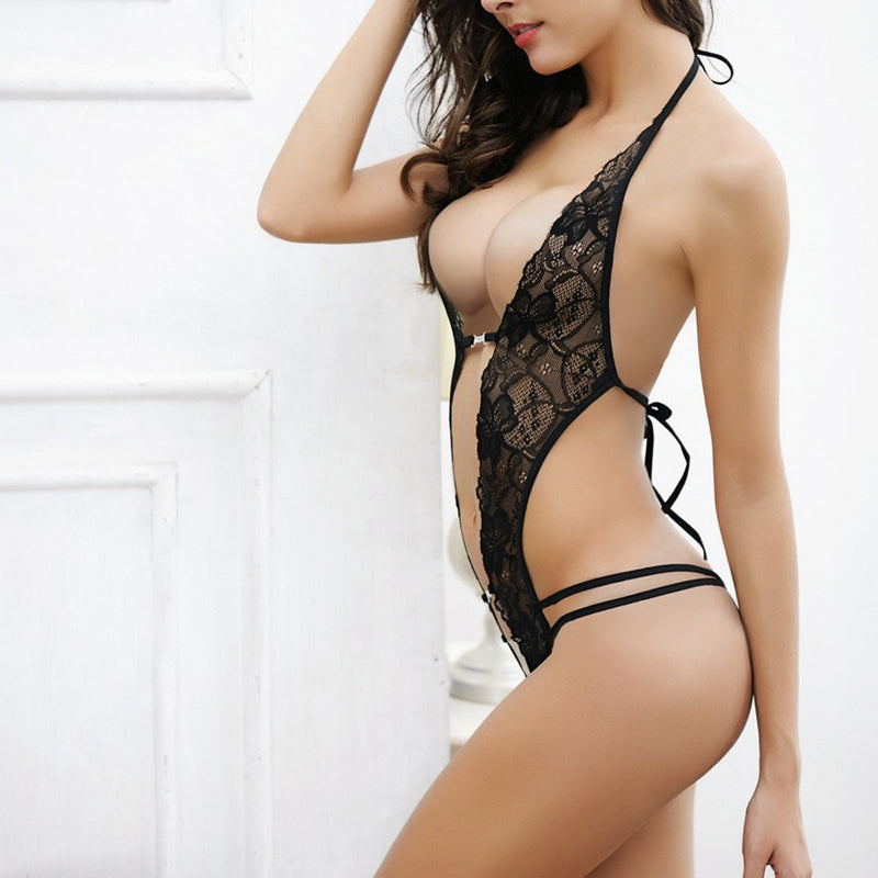 'Erotic' Lace One-Piece Crotchless Lingerie
