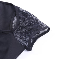 'Awaken' Black lace up lace sleeved top
