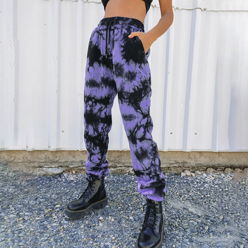 'Storm' Black and purple tie dye jogging pants