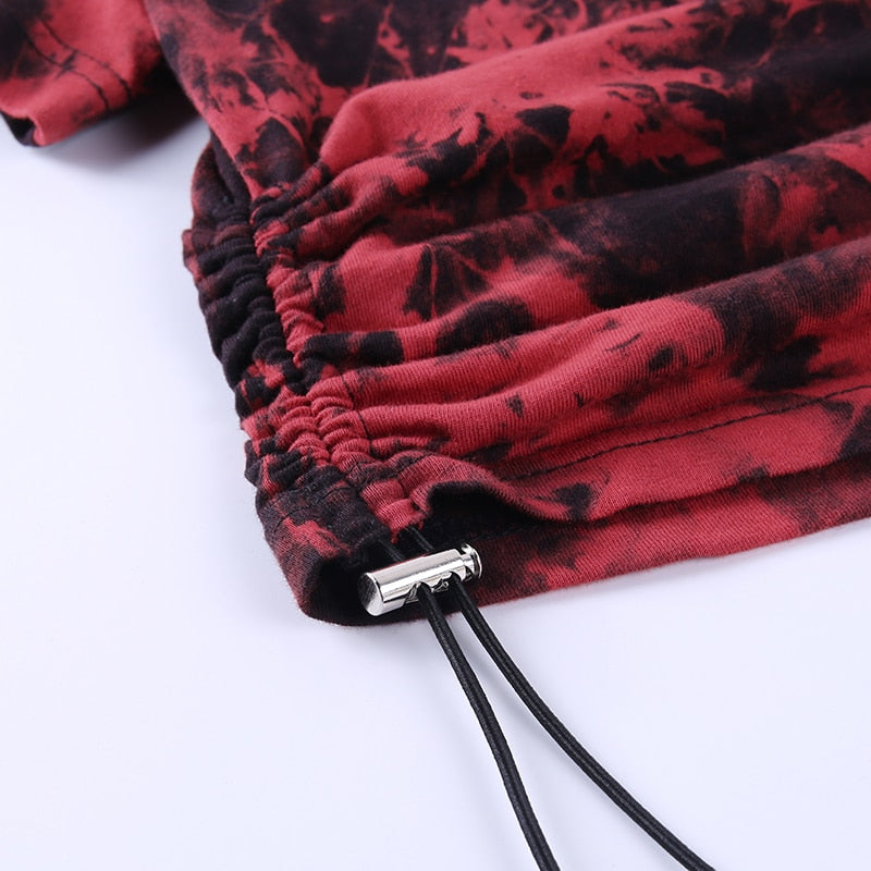 'Embers' Black and red tie dye chain t shirt