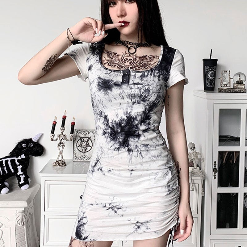 'Storm' Black and White tie dye dress