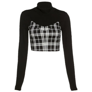 'Leads to Nowhere' Black and plaid long sleeved top, 2 piece set