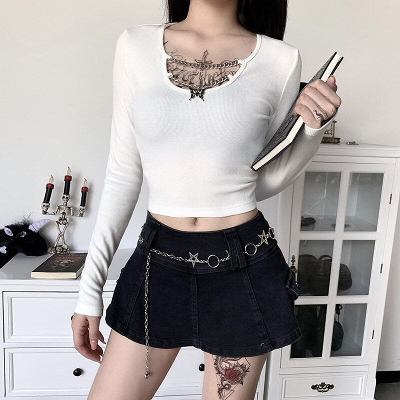 'Let you down' Black or white butterfly chain long sleeved top