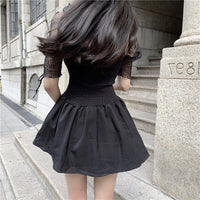 'Trial and Error' Black mesh lace up sleeve dress